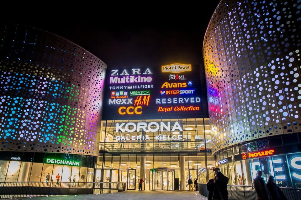 Kielce noca Galeria Korona 960x640 Kielce nocą