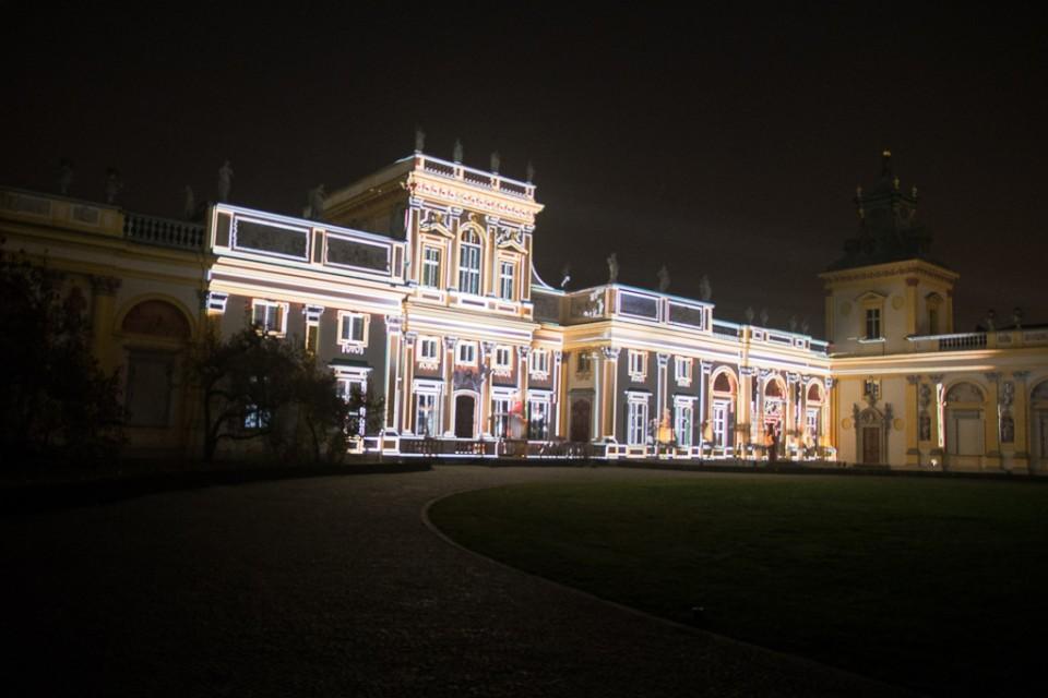 festiwal swiatla Wilanow palac1 960x640 Festiwal światła w  Wilanowie