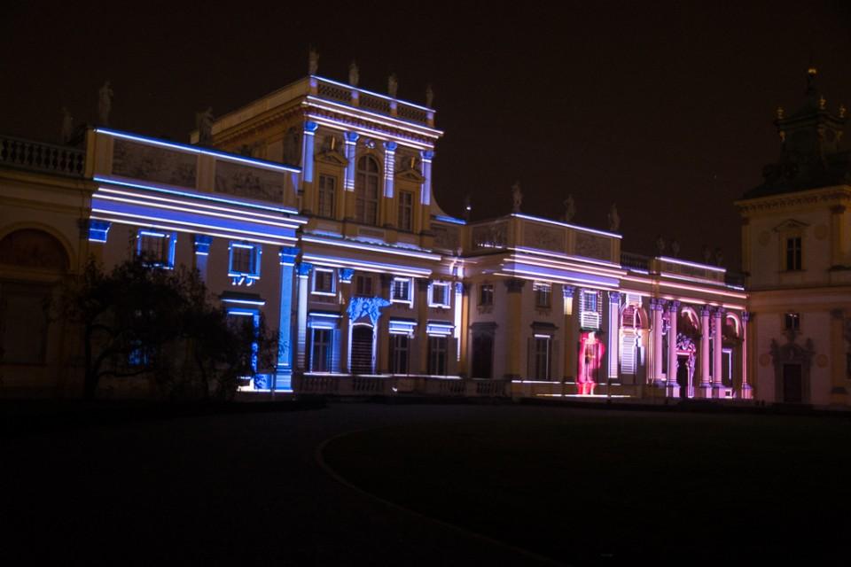 pokaz swiatla palac Wilanow 960x640 Festiwal światła w  Wilanowie