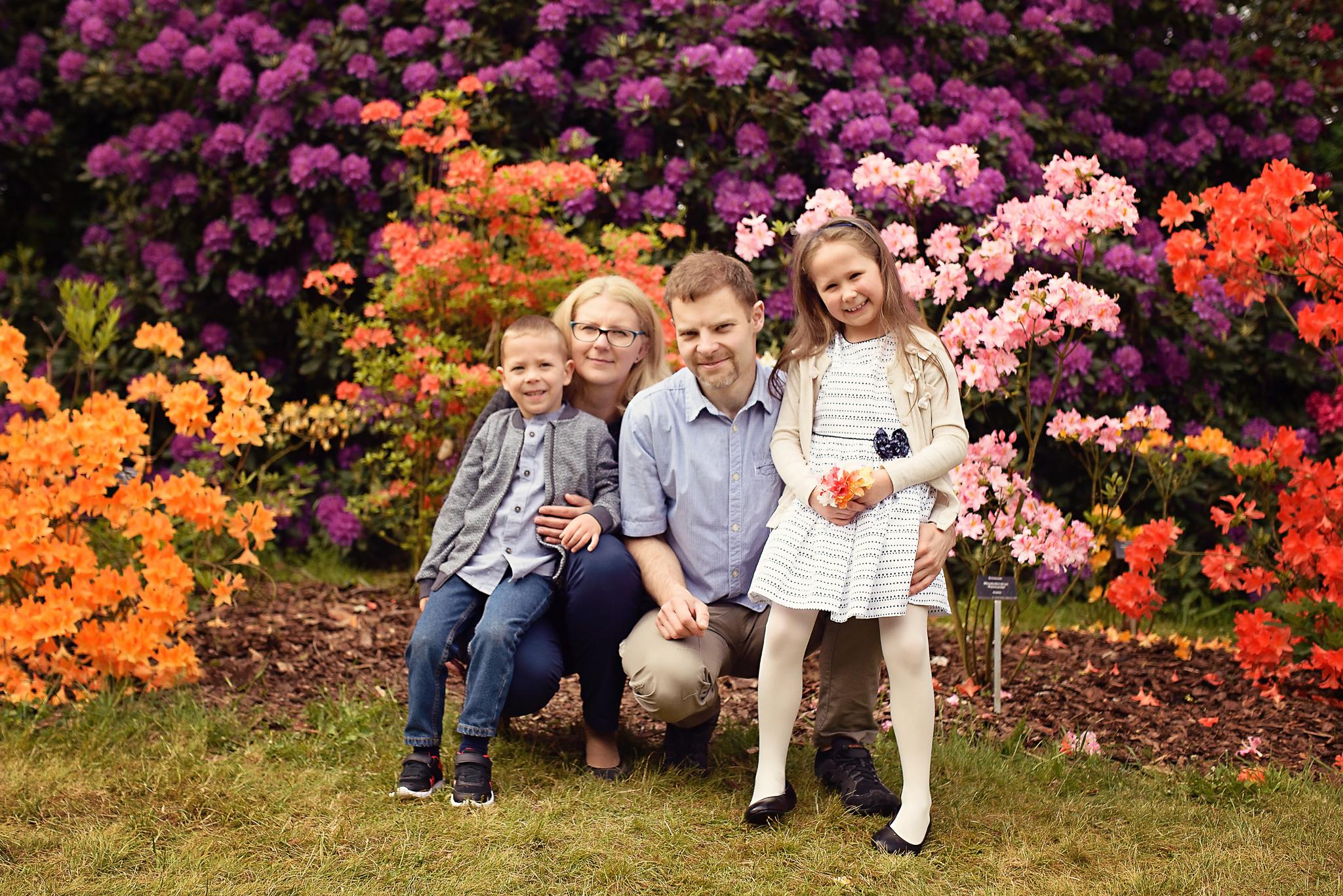 sesja rodzinna ogrod botaniczny Sesja dziecięca w azaliach i rododendronach
